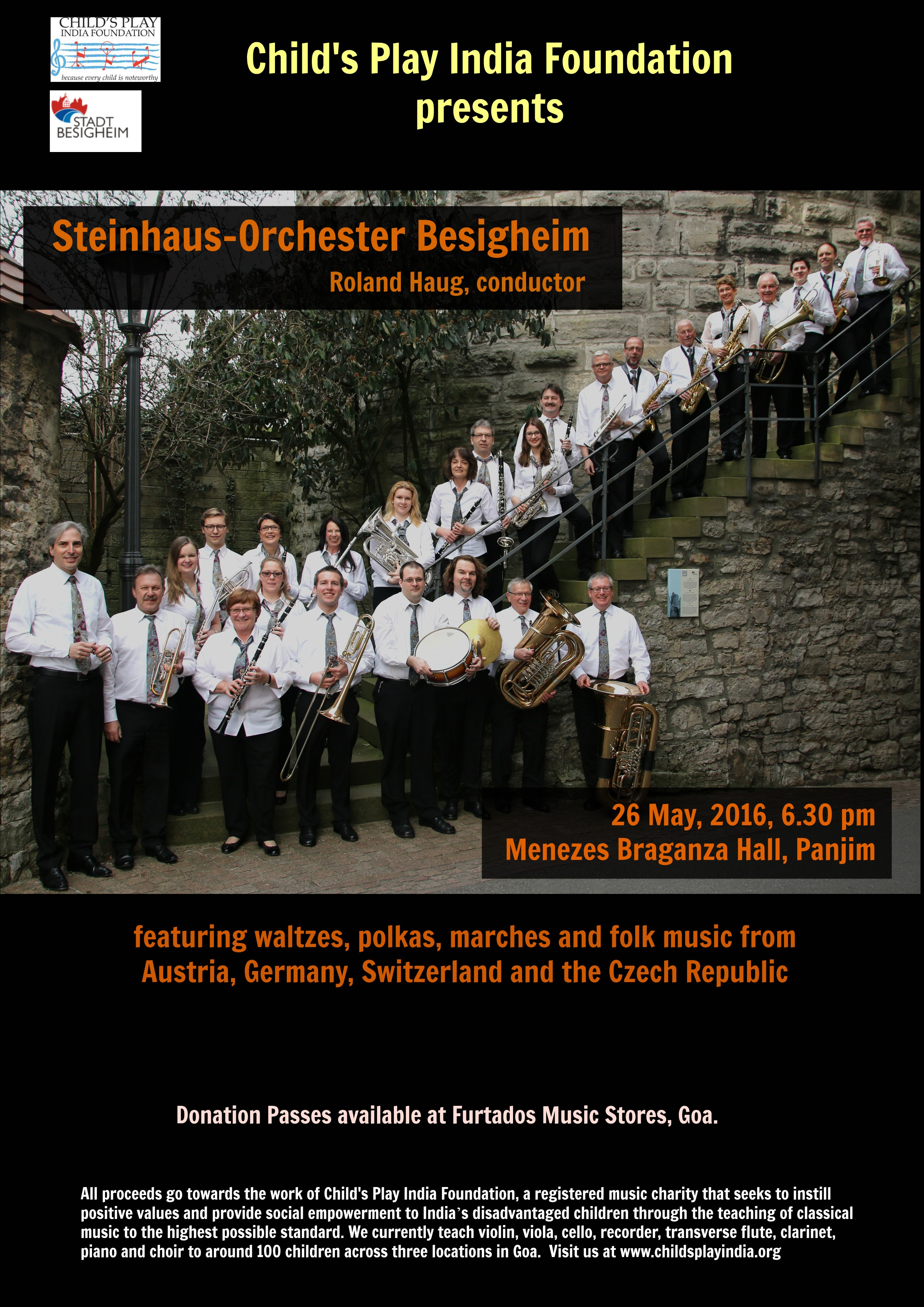 Steinhaus-Orchester to perform in aid of Child's Play India!